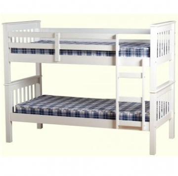 Neptune Solid Wood Bunk Bed - White (Splits into 2 single bedframes)